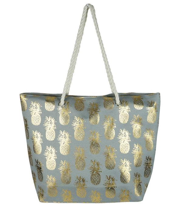 HANDBAGS :: FASHION :: Wholesale Gold Foil Pineapple Beach Tote