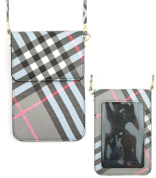PHONE ACCESSORIES :: Wholesale Plaid Cellphone Crossbody Bag