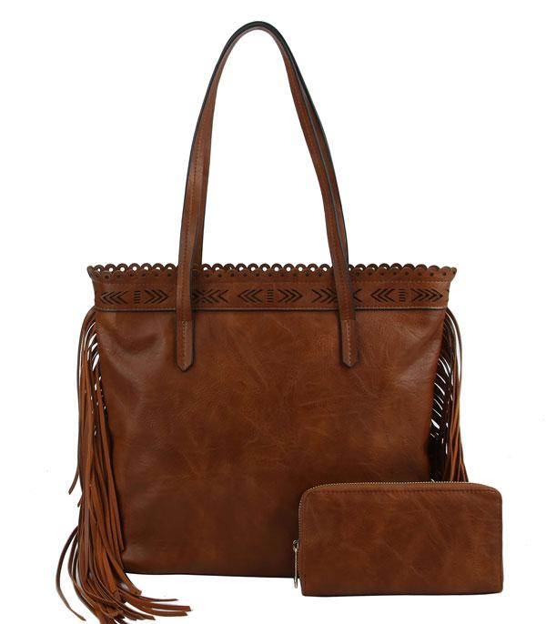 New Arrival :: Wholesale Fringe Faux Leather Tote Set Bag
