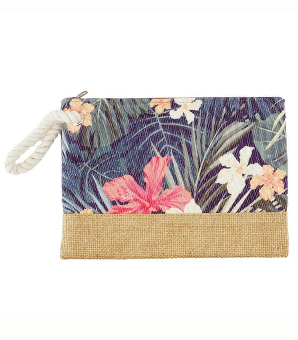 TRAVEL :: DIAPER | TOILETRY | COSMETIC BAGS :: Wholesale Tropical Flower Jute Cosmetic Pouch