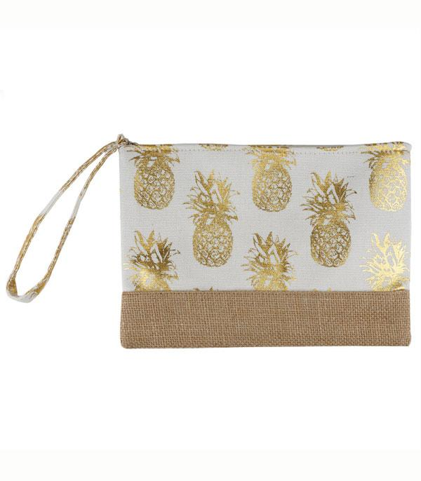 HANDBAGS :: WALLETS | SMALL ACCESSORIES :: Wholesale Goild Foil Pineapple Jute Pouch Bag