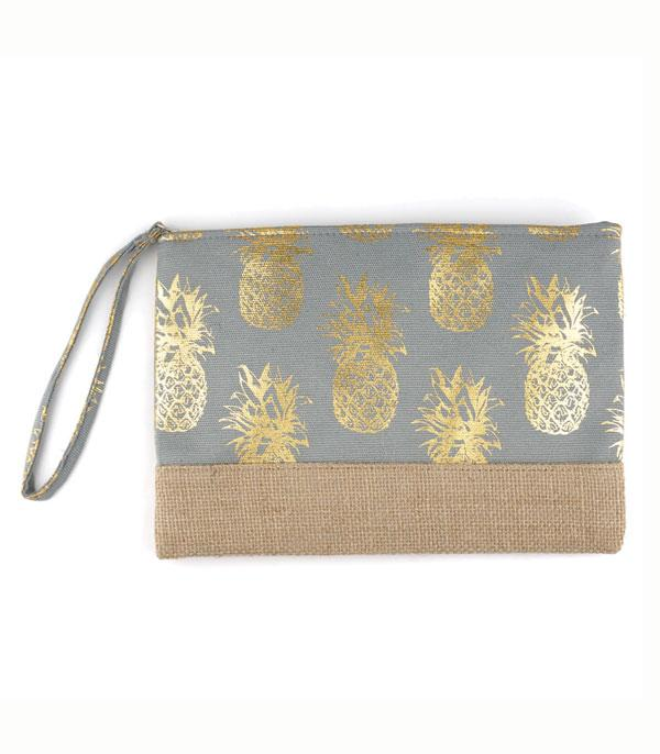 HANDBAGS :: WALLETS | SMALL ACCESSORIES :: Wholesale Gold Foil Pineapple Jute Pouch Bag