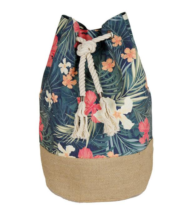 New Arrival :: Wholesale Tropical Flower Cotton Summer Backpack