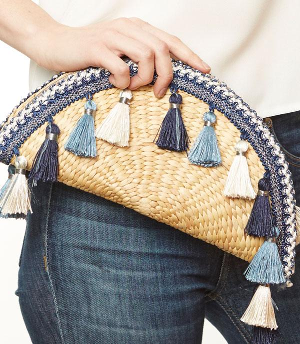 HANDBAGS :: WALLETS | SMALL ACCESSORIES :: Wholesale Handmade Straw Clutch w/Tassel