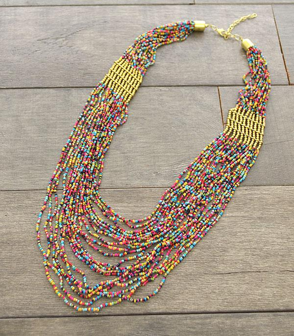 New Arrival :: Wholesale Boho Seed Bead Layered Necklace