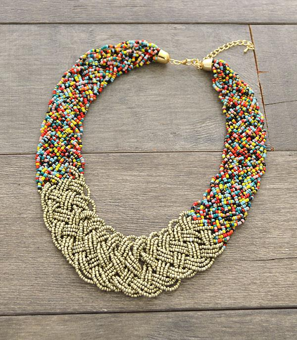 New Arrival :: Wholesale Boho Seed Bead Bib Necklace