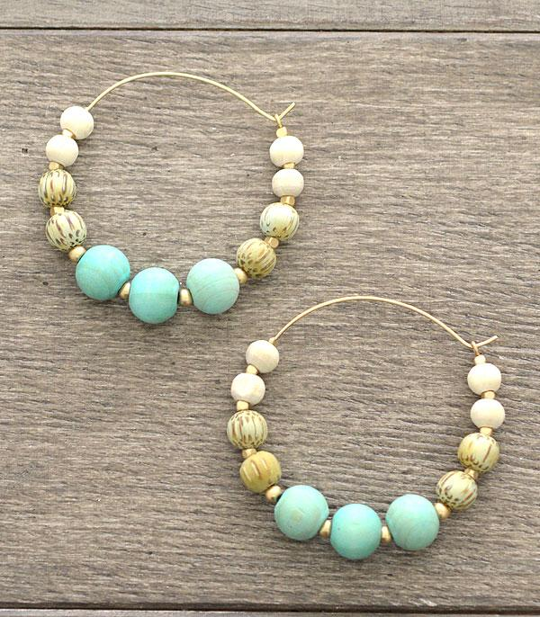 New Arrival :: Wholesale Wood Bead Hoop Earrings