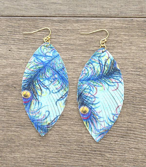 New Arrival :: Wholesale Peacock Leaf Leather Shimmer Earrings