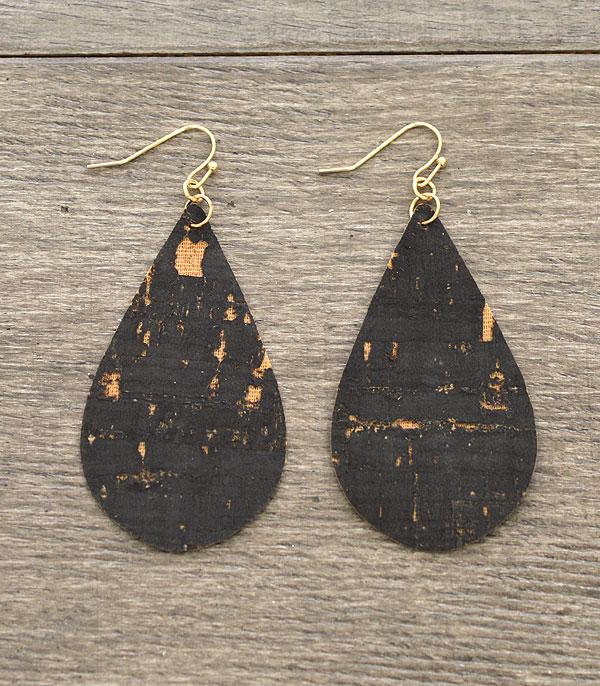 New Arrival :: Wholesale Tear Drop Cork Earrings