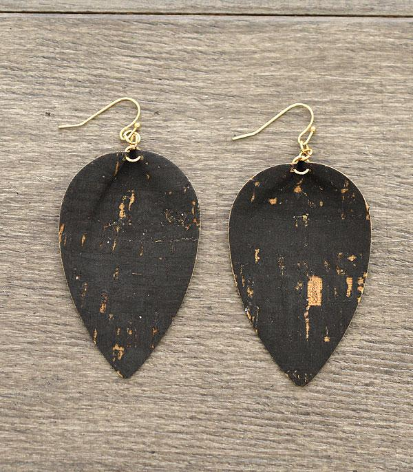 New Arrival :: Wholesale Leaf Shape Cork Fashion Earrings