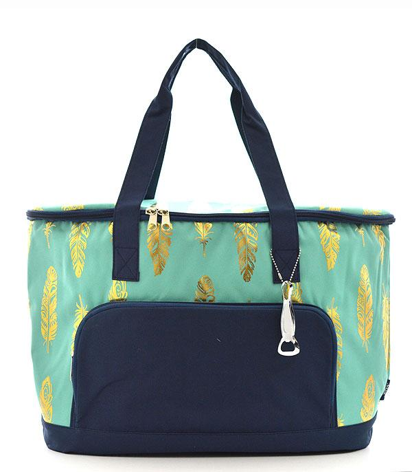 New Arrival :: Wholesale NGIL Gold Foil Feather Print Cooler Bag