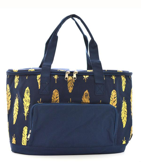 New Arrival :: Wholesale NGIL Gold Foil Feather Cooler Bag