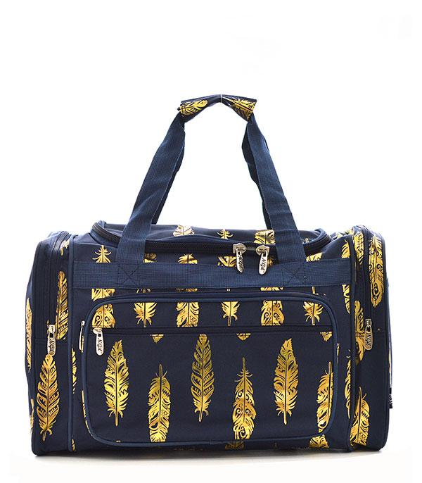 TRAVEL :: DUFFLE BAGS :: Wholesale NGIL Gold Foil Feather Print Duffle Bag