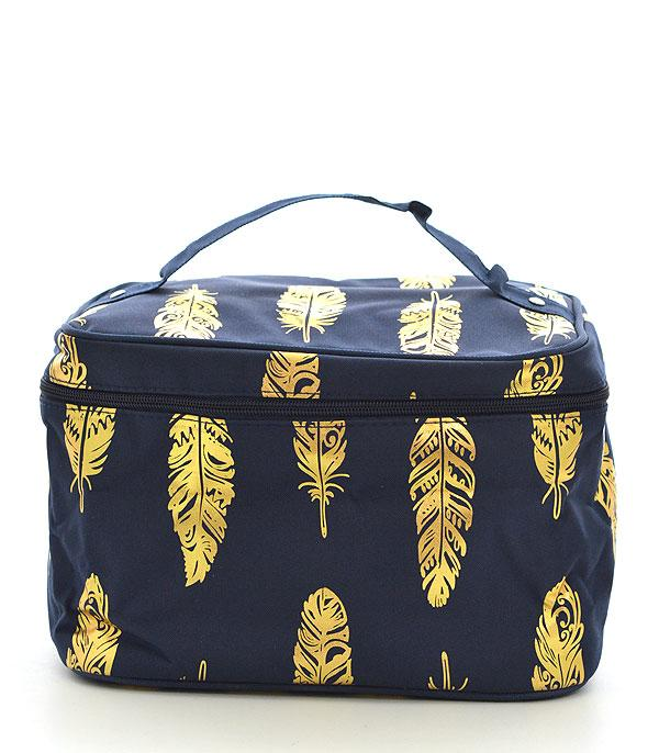 TRAVEL :: DIAPER | TOILETRY | COSMETIC BAGS :: Wholesale NGIL Gold Foil Feather Cosmetic Bag