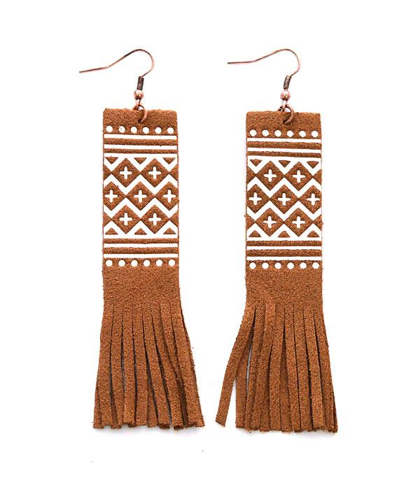 New Arrival :: Wholesale Western Aztec Boho Fringe Earrings
