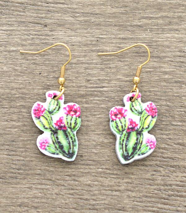 New Arrival :: Wholesale Cactus Wooden Earrings