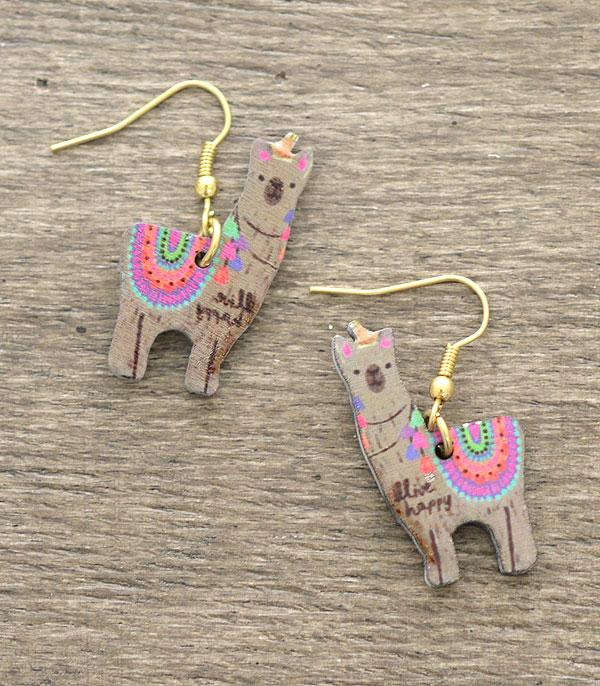 New Arrival :: Wholesale Llama Wooden Earrings