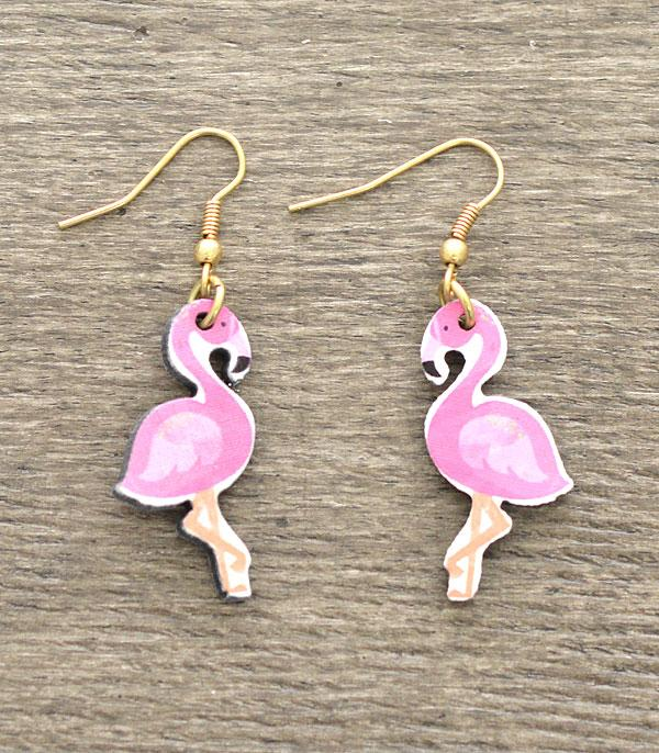 New Arrival :: Wholesale Flamingo Wooden Earrings