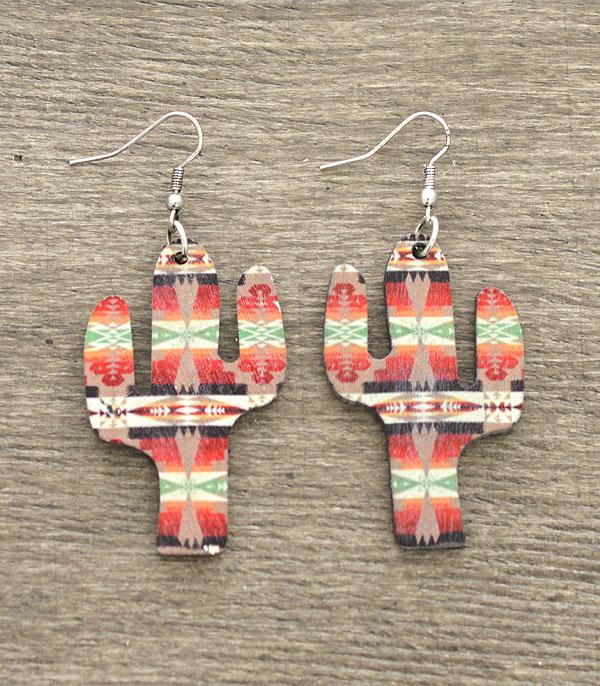 New Arrival :: Wholesale Western Aztec Wooden Cactus Earrings
