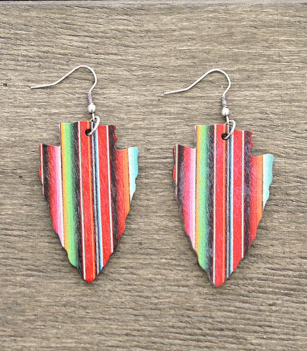 New Arrival :: Wholesale Western Serape Arrowhead Earrings