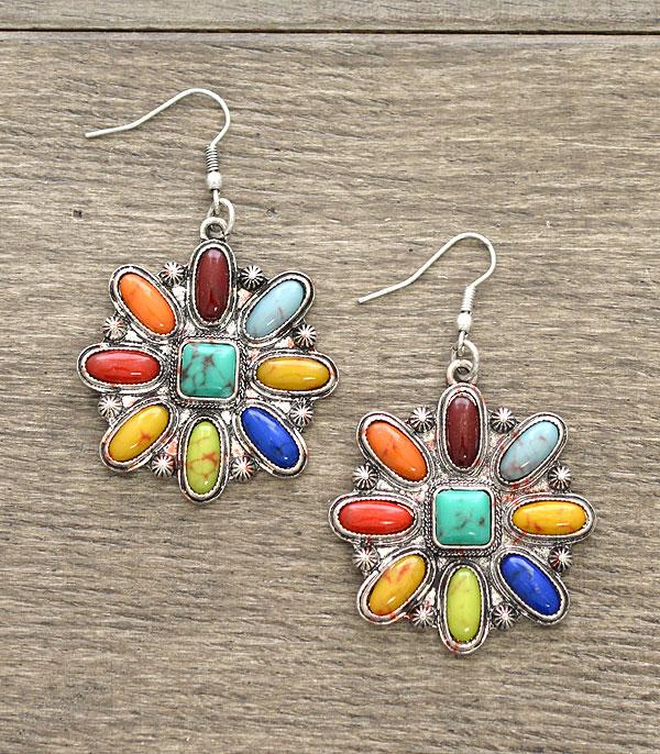 New Arrival :: Wholesale Western Turquoise Stone Earrings