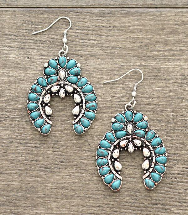 <font color=Turquoise>TURQUOISE JEWELRY</font> :: Wholesale Turquoise Squash Blossom Earrings