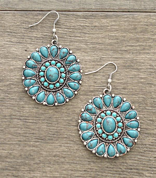 <font color=Turquoise>TURQUOISE JEWELRY</font> :: Wholesale Western Turquoise Stone Concho Earrings