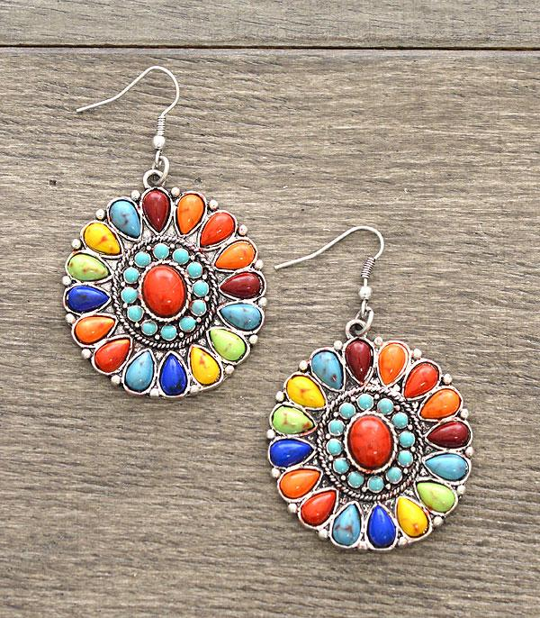 New Arrival :: Wholesale Western Turquoise Stone Concho Earrings