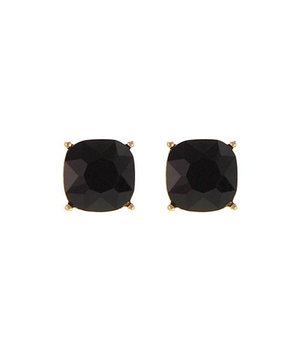 New Arrival :: Wholesale Cushion Cut  Post Color Earrings