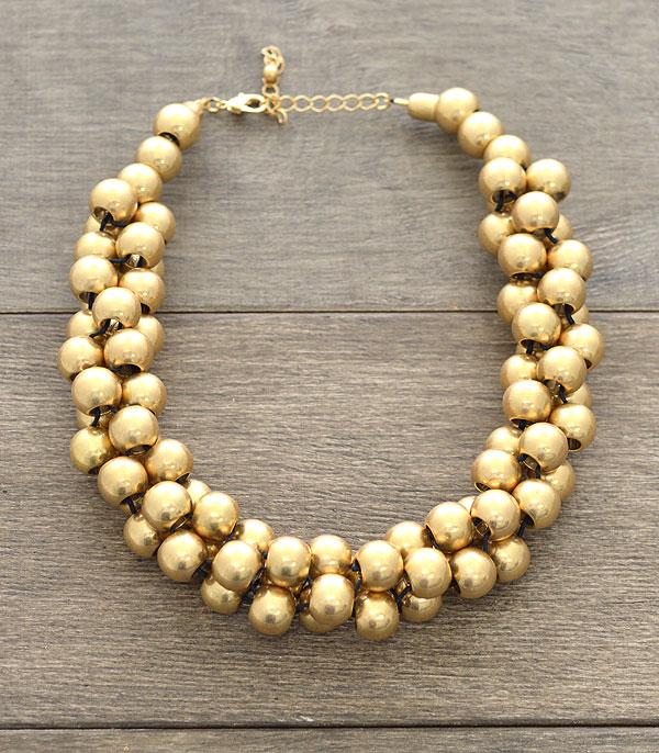 New Arrival :: Wholesale Gold Matte Ball Choker Necklace