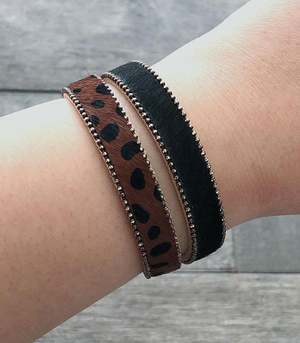 New Arrival :: Wholesale Faux Fur Animal Print Leather Bracelet