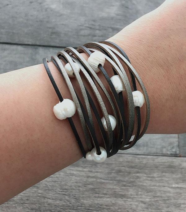 New Arrival :: Wholesale Pearl Leather Mix Layered Bracelet