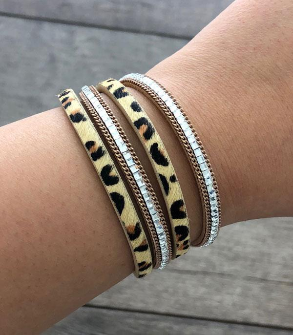 New Arrival :: Wholesale Leopard Layered Leather Bracelet
