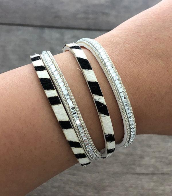 New Arrival :: Wholesale Zebra Print Layered Leather Bracelet
