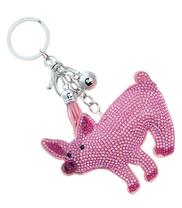 New Arrival :: Wholesale Rhinestone Pig Keychain