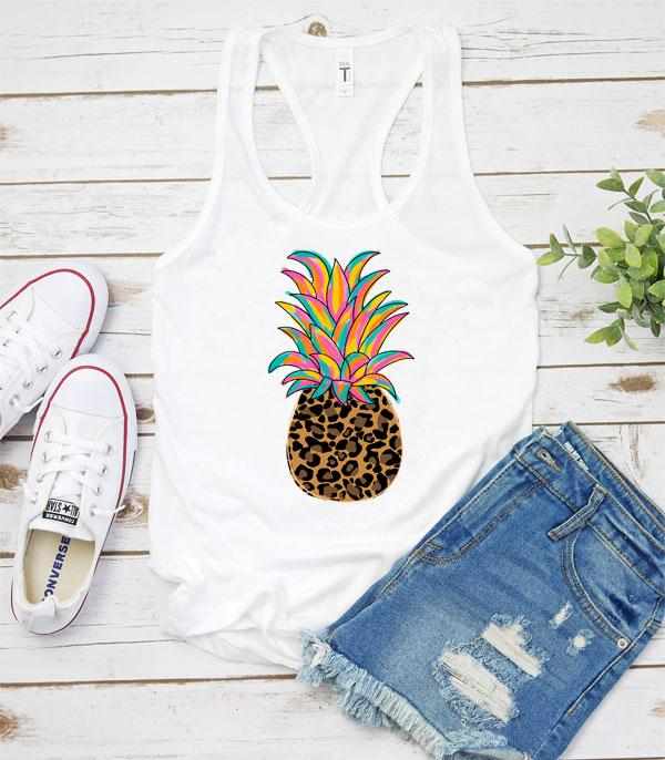 New Arrival :: Wholesale Vintage Leopard Pineapple Graphic Tank