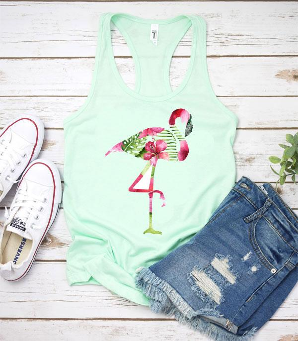 New Arrival :: Wholesale Tropical Flamingo Graphic Tank Top