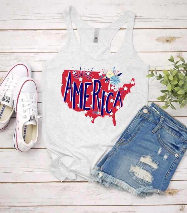 <font color=BLUE>RED,WHITE, AND BLUE</font> :: Wholesale Vintage USA Patriotic Graphic Tank Top