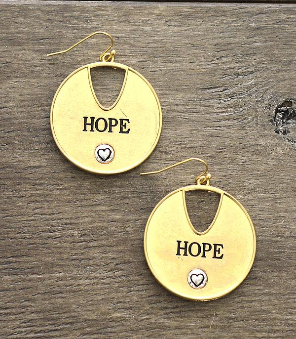 New Arrival :: Wholesale Inspirational Hope Casting Earrings