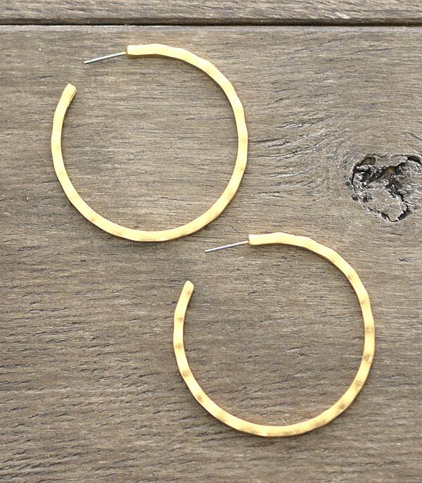 New Arrival :: Wholesale Hammered Gold Hoop Earrings