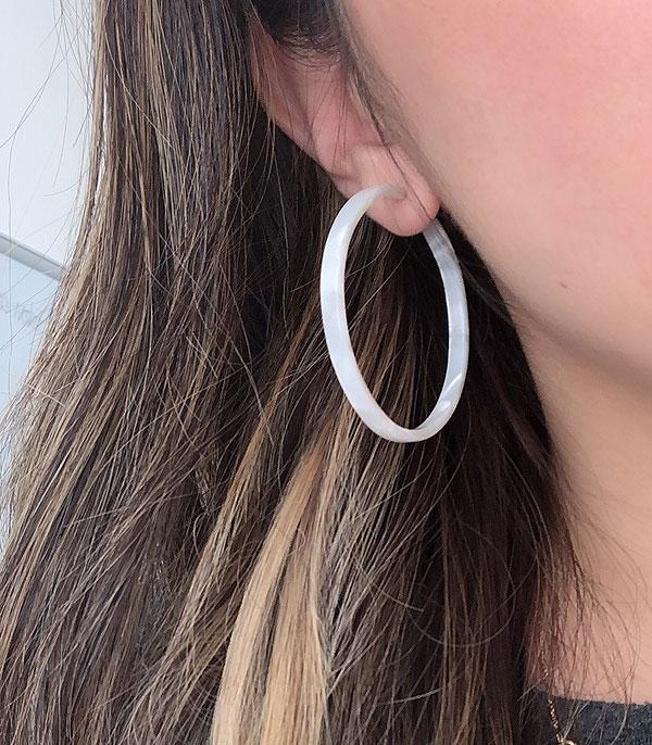 New Arrival :: Wholesale Tortoise Lucite Hoop Earrings