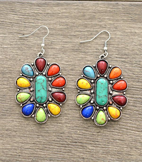 New Arrival :: Wholesale Western Turquoise Concho Earrings