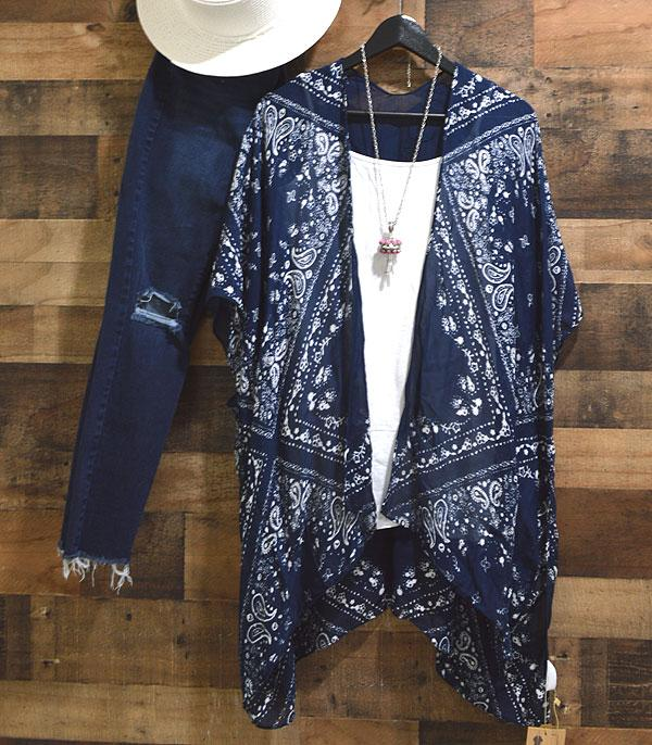 New Arrival :: Wholesale Navy Paisley Kimono Cover-Up