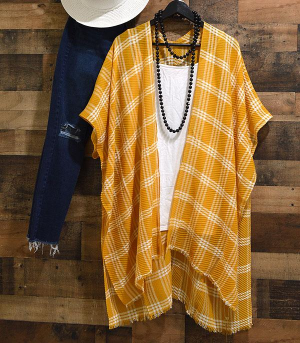New Arrival :: Wholesale Plaid Kimono Cover-Up
