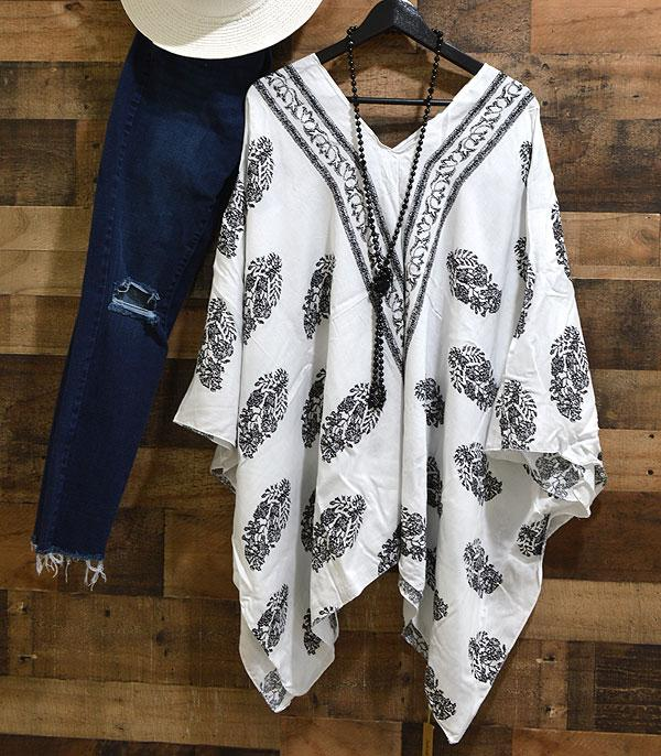 New Arrival :: Wholesale Floral White Poncho