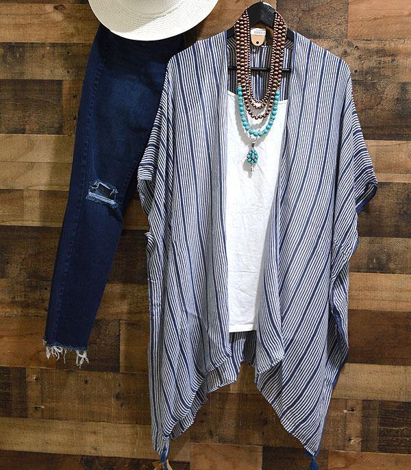 New Arrival :: Wholesale Navy Stripe Kimono Cover-Up