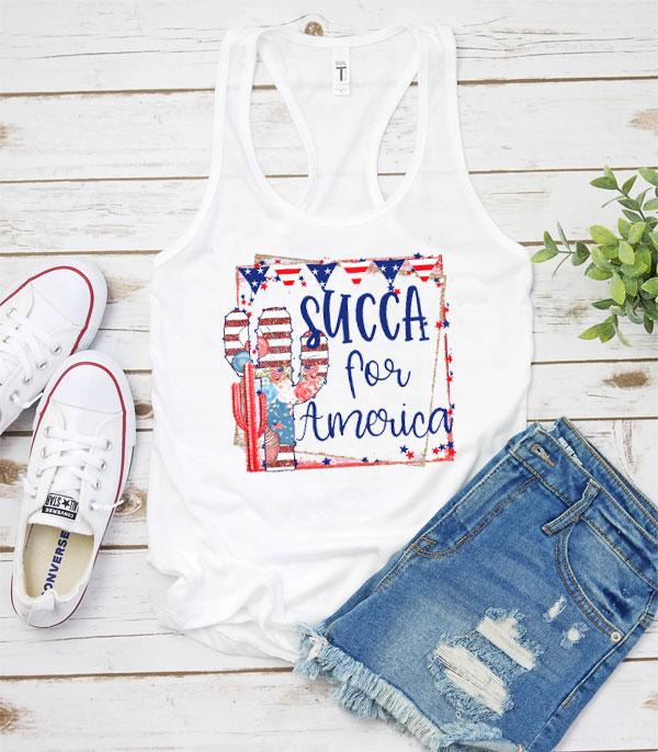 New Arrival :: Wholesale Vintage Patriotic Cactus Graphic Tank
