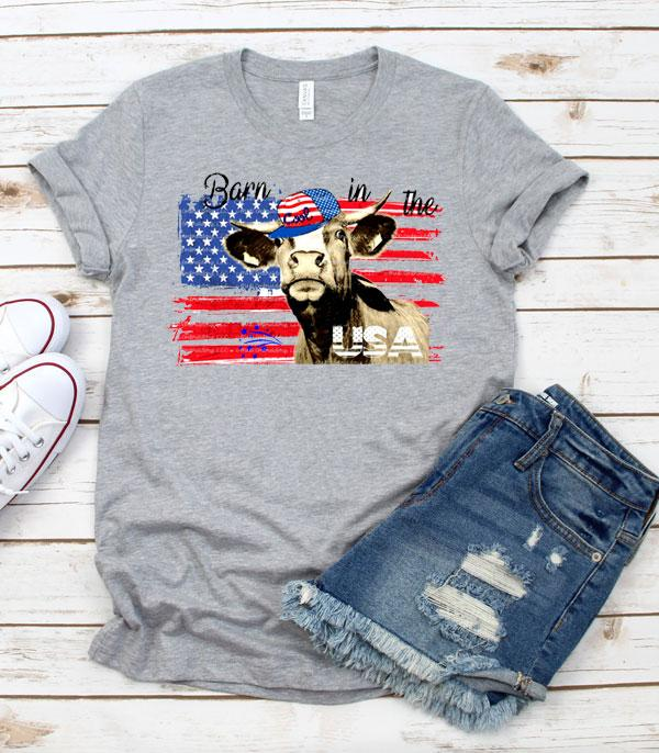 New Arrival :: Wholesale Western Vintage Patriotic Cow TShirt