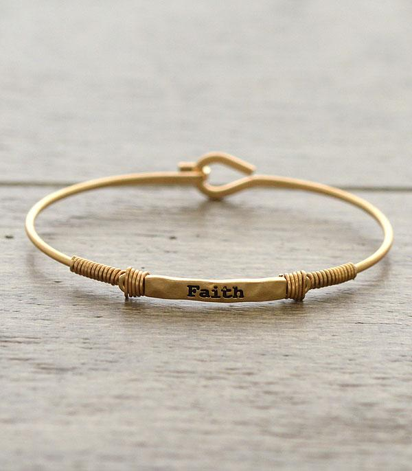 New Arrival :: Wholesale Inspirational Faith Thin Wire Bracelet