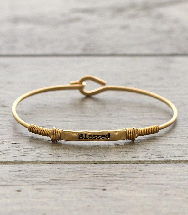 BRACELETS :: BANGLE :: Wholesale Inspirational Blessed Thin Wire Bracelet